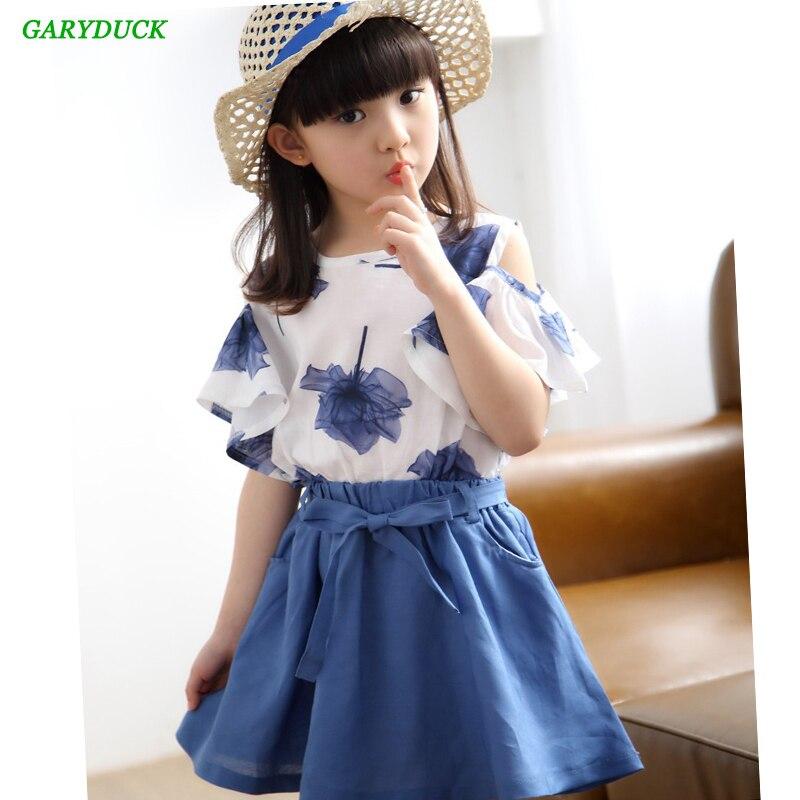 2 Pcs Set Teen Girls Clothing Sets Kids Summer Dress Floral Printed Petals sleeves Shirt + Solid color Skirts  Girls Clothes Set стоимость