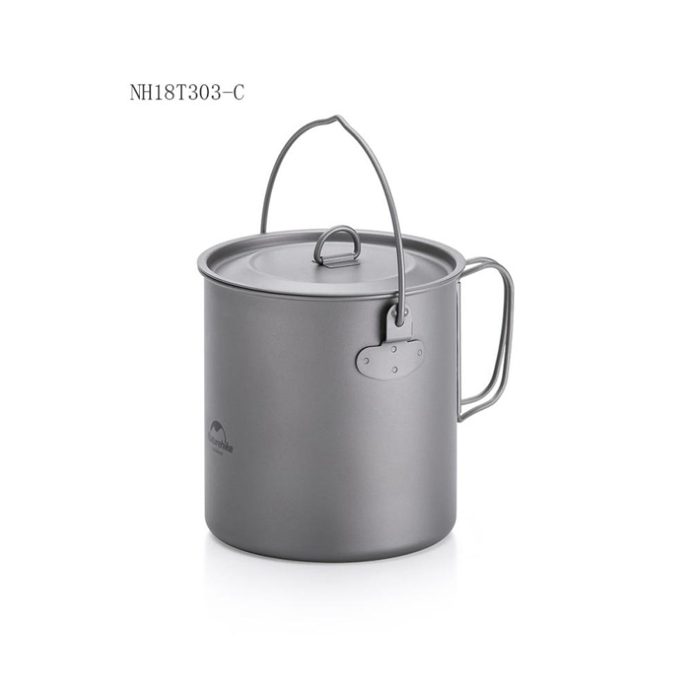 Pot de titane en plein air poêle tasse tasse ultra-légère Camping randonnée pique-nique vaisselle ustensiles de cuisine 800 ml 1250 ml - 2