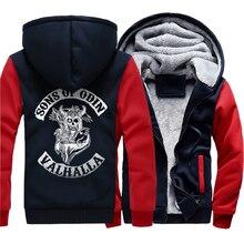 zipper thicken warm sweatshirts Vikings Odin 2019 winter Son of Viking hooded jackets Men wool liner Clothes man tracksuits