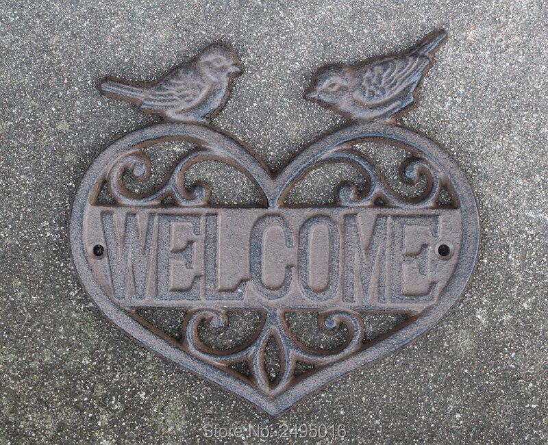 Une Paire De Tourtereaux plaque de bienvenue Greeter fonte Jeu de Jardin En fer par Cadeaux et Décoration - 3