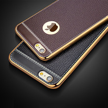 Litchi Pattern Soft Silicone Cases for APPle iPhone 8 Case Luxury Leather 5 5s 6s 7 Plus Vintage plating Cover for iPhone x Case(China)