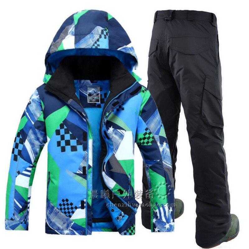 Nouvelle combinaison de ski homme coupe-vent imperméable GSOU SOW ncoréen Double planche simple sport de plein air combinaison de ski veste et pantalon de SKI