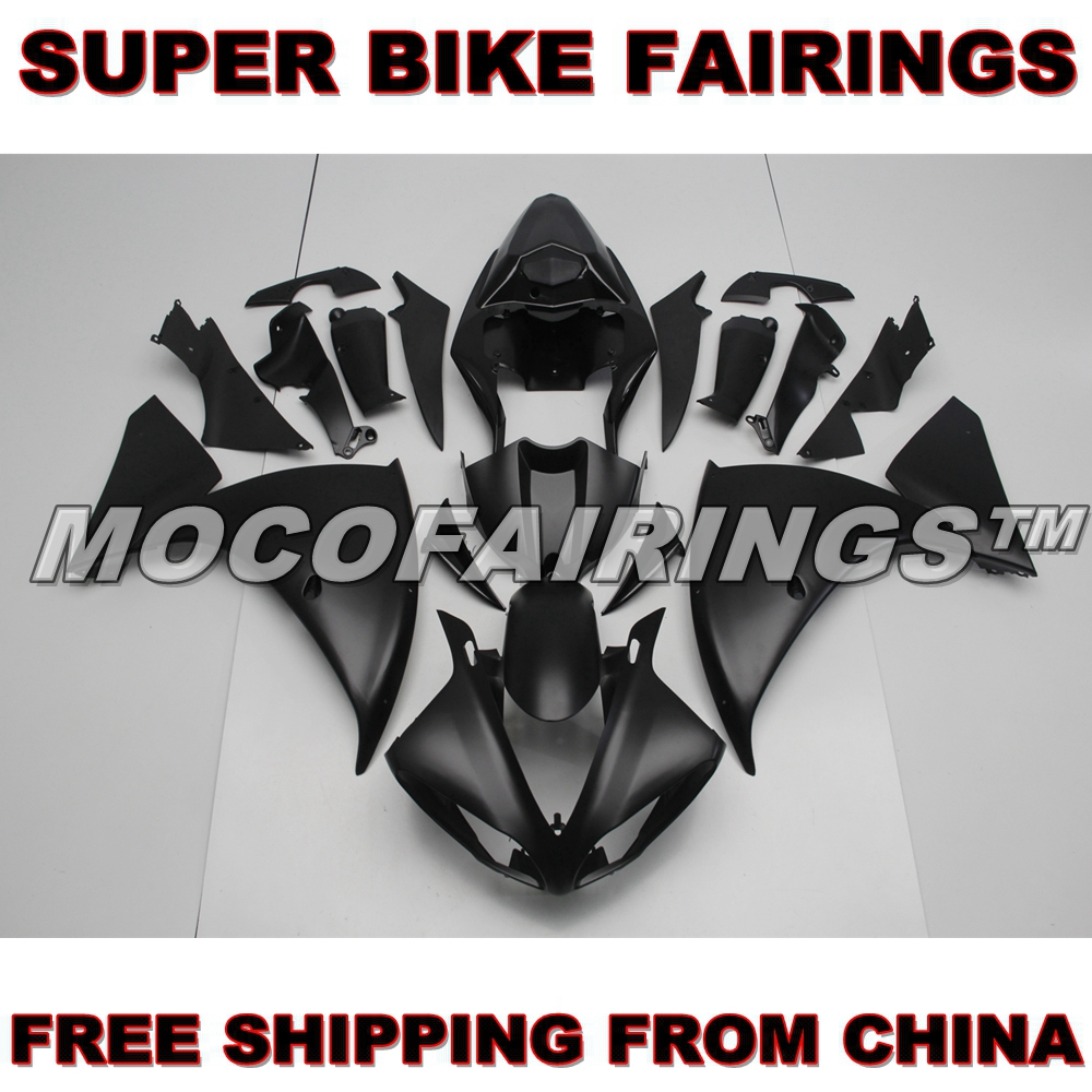 For Yamaha YZF R1 2009 2010 2011 ABS Fairing Plastic Kit 100% Fitment MATTE BLACK YZF-R1 09 10 11