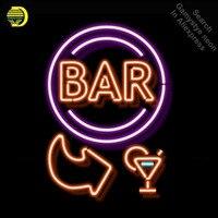 Бар открыт со стрелкой Лампа неоновая вывеска неоновых ламп знак Пивной бар Pub знак стеклянной трубки рукоделие номер свет знаки рекламиров