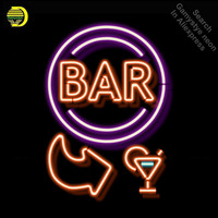 Bar open with arrow Neon Sign Lamp neon bulbs Sign beer Bar Pub Sign GLASS Tube Handcraft Room Light Signs advertise lamp neon