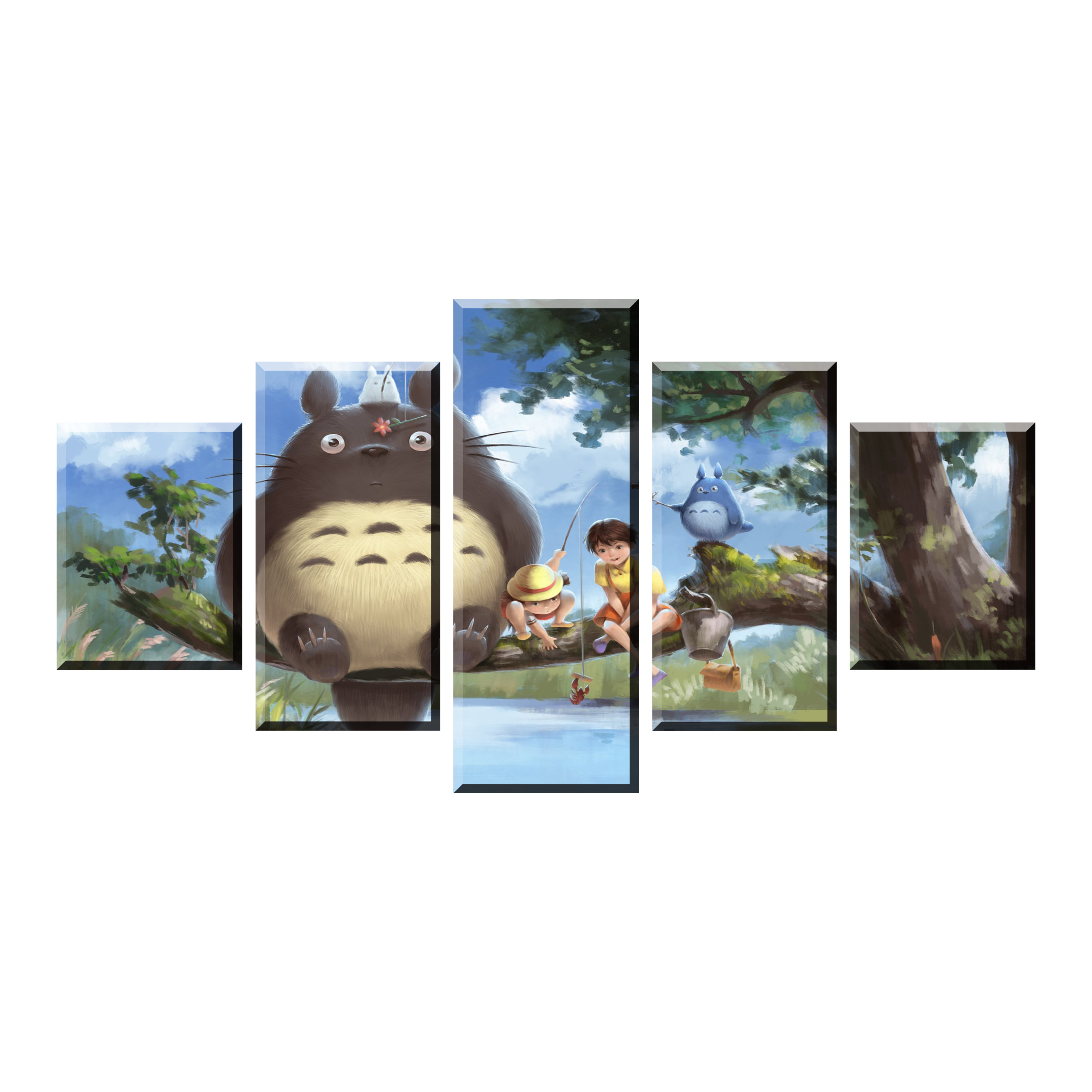 HD Print Movie 5 Piece My Neighbor Totoro Canvas Poster Paintings Modern Pictures Wall Art For Home Decor Framework Decoration in Painting Calligraphy from Home Garden