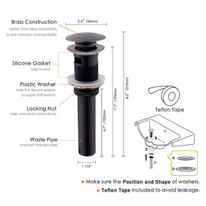 Image 2 - Matte Black Brass Pop Up Sink Drain Stopper with Overflow Push and Seal for  Bathroom Basin