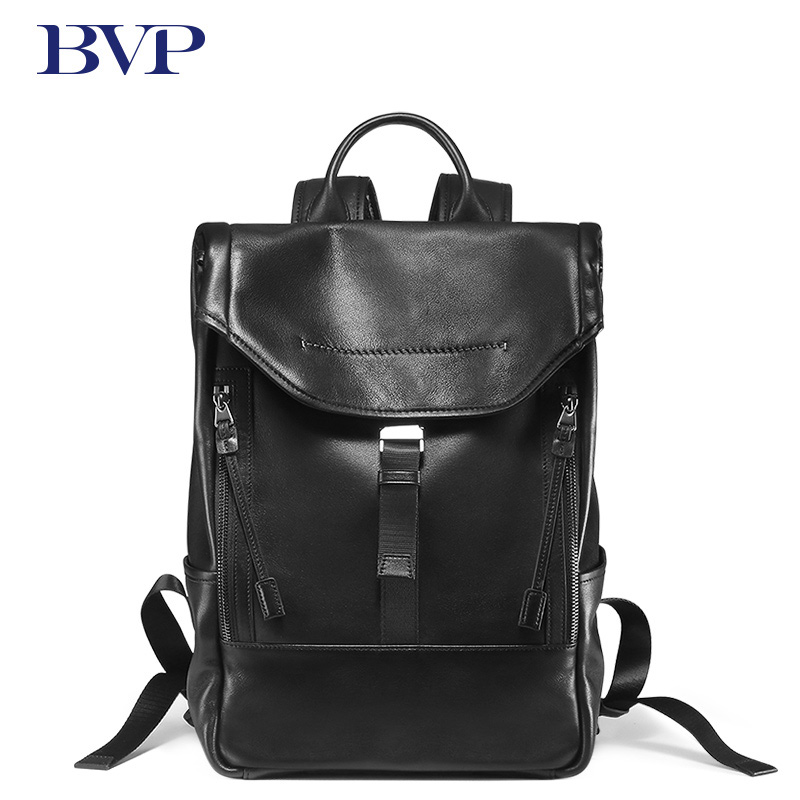 BVP Brand 14 inch Laptop Backpack High Quality Men Real Leather Backpacks Men Casual Daypacks Male