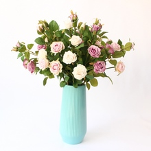 Beautiful Rose Stem  Free Shipping Silk Flowers Artificial Flowers High Simulation wedding decoration home decoration home decorative high simulation ombre artificial flowers
