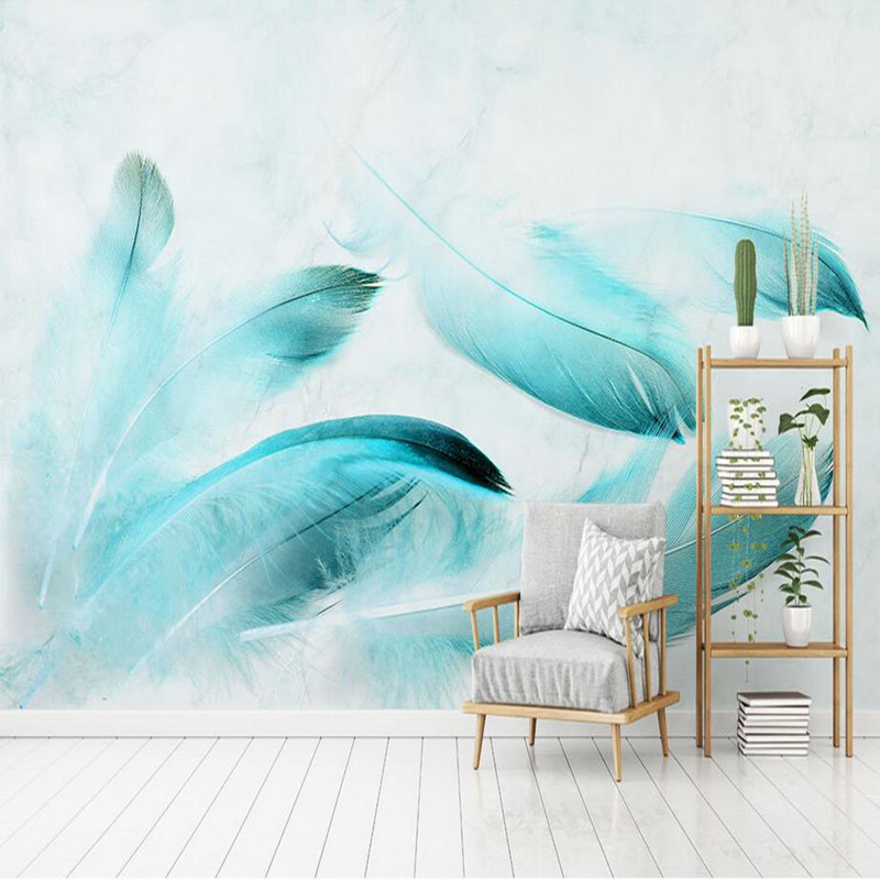Modern 3D Wall Murals Wallpaper for Wall 3D Blue Feather Marble TV Background Wallpaper Stickers Home Decor Beauty Wallpapers 3D stylish diy purple mangnolia and letters pattern wall stickers for home decor