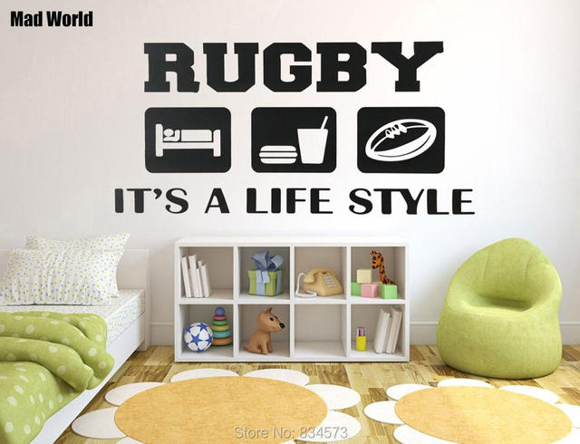 Mad World-Eat Sleep Rugby Kids Quote Wall Art Stickers Wall Decal Home DIY Decoration Removable Room Decor Wall Stickers