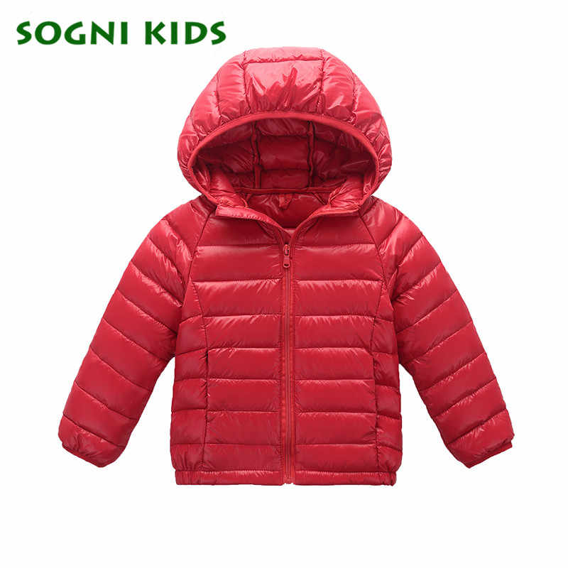 02660ebff Down Coat for Baby Boys Girls Winter Jacket Brand Hooded Warm Puffer Coat  Toddler Kids Outerwear solid Orange Boys Clothing