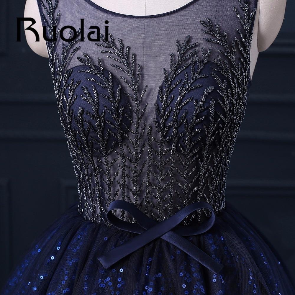 2017 De Luxe Royal Bleu Lourd Perlé Robe De Soirée Robe De Soirée - Habillez-vous pour des occasions spéciales - Photo 3