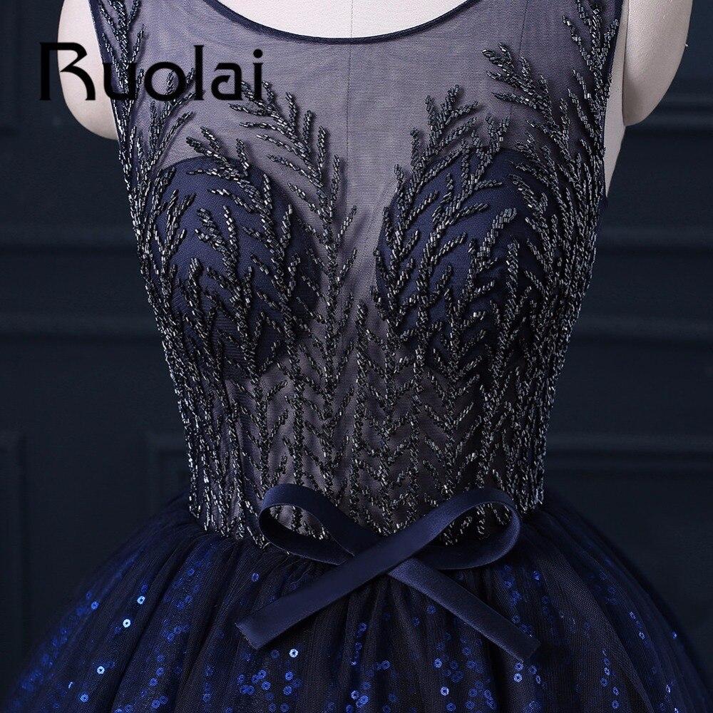2017 Mewah Diraja Blue Berat Beaded Ball Gaun Petang Sifon Sequined - Gaun acara khas - Foto 3