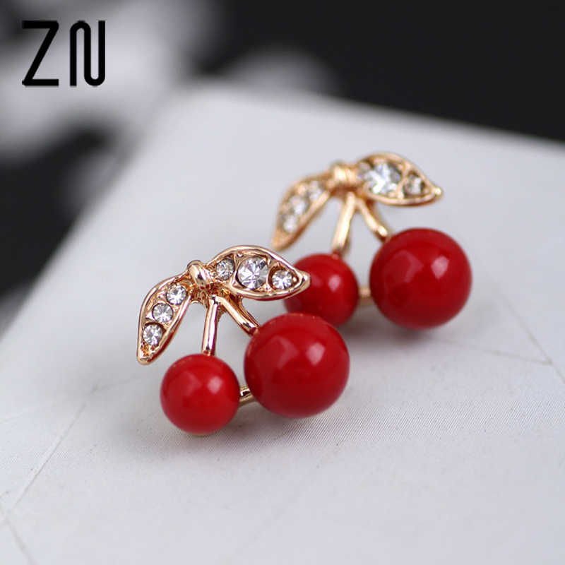 1 Pair Women Girl New Fashion Popular Charming Cute Rhinestone Red Cherry Ear Stud Earrings Gift