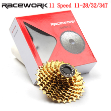 цены 11 Speed Cassette Road Bike Flywheel 28T 32T 34T Bicycle Gold Cassette 11 Speed for SRAM Shimano 5800 6800 R7000 R8000