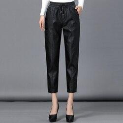 Neue PU Leder Hosen Weibliche Pluderhosen Hohe Taille Schaffell Hosen Bleistift Hosen Große Größe Elastische Taille Hose Herbst Winter