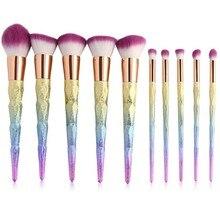 10pcs Diamond Makeup Brushes Set Colorful Rainbow Handle Facial Foundation Cosmetic Makeup Brush Kit ink wash painting handle cosmetic brush set 10pcs