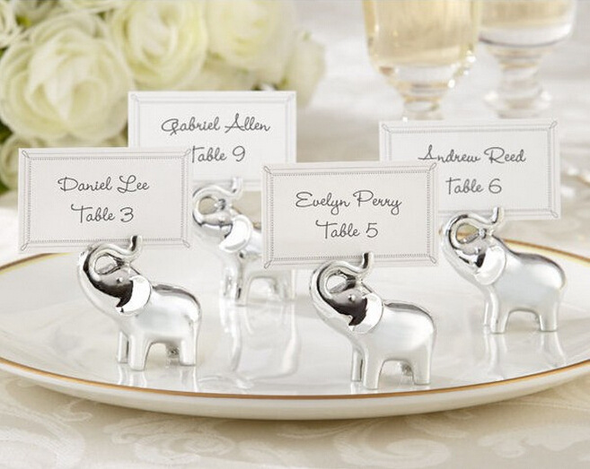 Free Shipping Silver Baby Elephant Place Card Holders Wedding Decoration Party Supplies