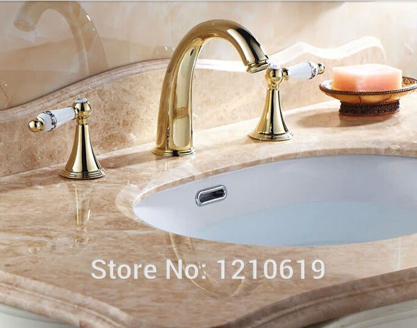Newly Euro Style Dual Ceramics Handles Bathroom Basin Sink Faucet Golden Finish Luxury Vessel Mixer Tap Three Holes Deck Mounted newly solid brass oil rubbed bronze 3pcs bathroom sink basin faucet mixer tap dual ceramics handle three holes deck mounted
