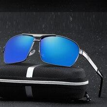 Al-mg Alloy Oversized Rectangle Comfortable Polarized Sunglasses Custom Made Myopia Minus Prescription Lens -1 To-6