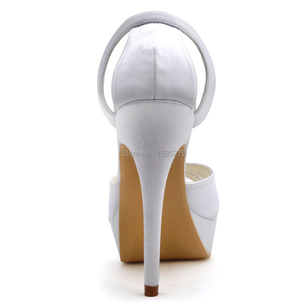 EP2121 PF White Sandasl Women Peep Toe Evening Bridal Party Pumps Cut outs  Platform Sandals Satin Wedding Bride Shoes-in Women s Pumps from Shoes on  ... 24eb74c8103c