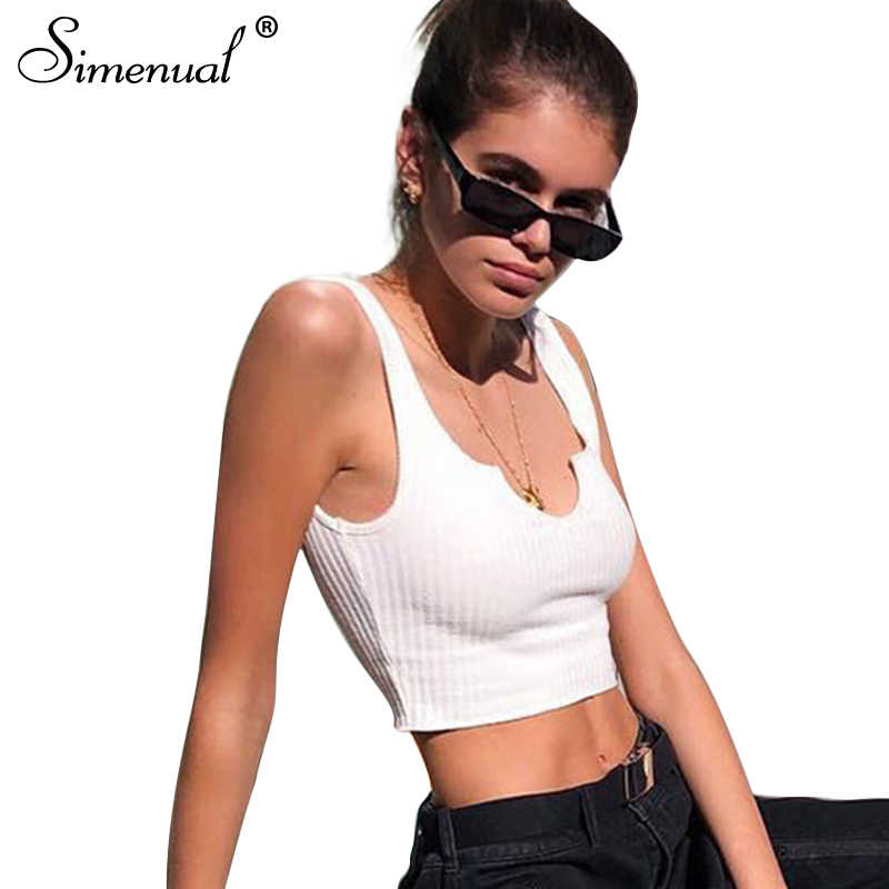 Simenual ディープ v ネックのサマータンクは、衣類 2018 ノースリーブシャツ女性クロップトップセクシーなホットスリム白人女性タンクトップ
