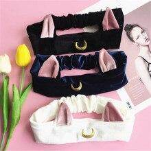 Sailor Moon Luna кошачьи уши, резинка для волос, вспомогательный оголовье для волос, косплей, милое средство для мытья лица, очищающее средство для макияжа, головной убор Lolita A856