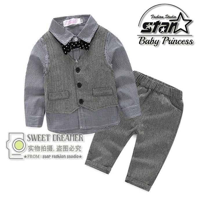 4pieces Set Autumn 2016 Children's Casual Clothing Sets Kids Baby Boy Suit Vest Gentleman Clothes for Weddings Formal Clothing цена и фото