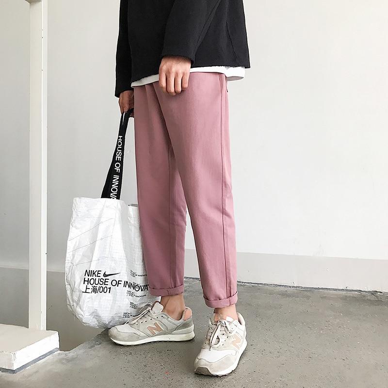 2019 Man Casual Straight Pants Streetwear Pink Pants Men Joggers Big Pockets Mens Sweatpants Loose Trousers