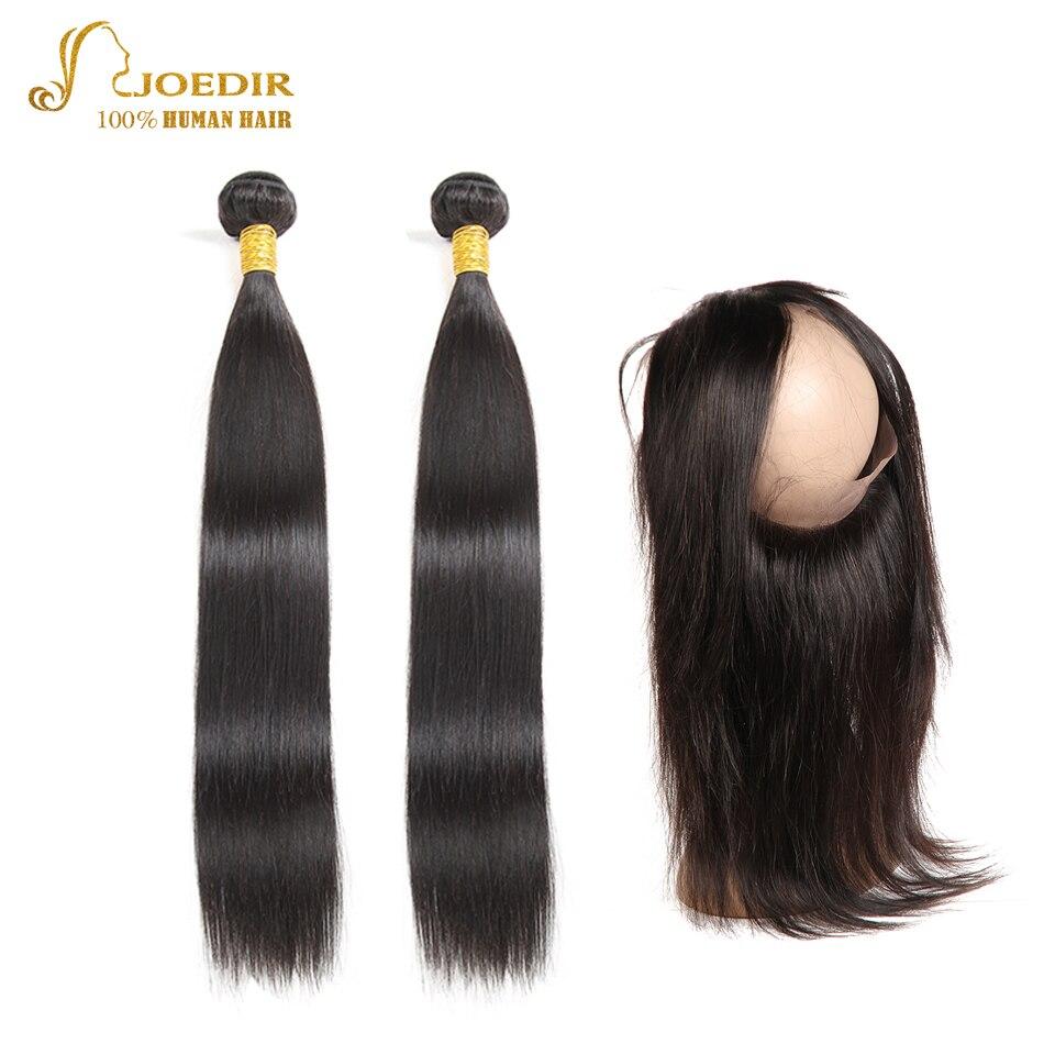 Joedir Human Hair Bundles with 360 Closure Straight Hair Bundles with Frontal Malaysian Hair Bundles with Closure Frontal