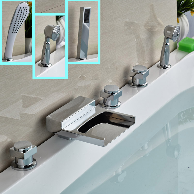 цена на Deck Mount Bathroom Tub Filler with Shower and Waterfall Spout Widespread Brass Sink Mixer Tap for Bath