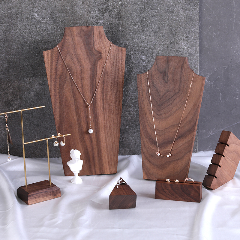 Black Walnut Pendant Necklace Display Holder Earrings Ring Display Stand Solid Wood Chain Showcase