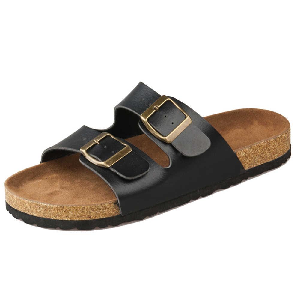 Sandals Shoes Hombre Slipper Fashion Leather Cork Flop Beach Summer Zapatos Flip Men Buckle Pu 4jL5q3ARc