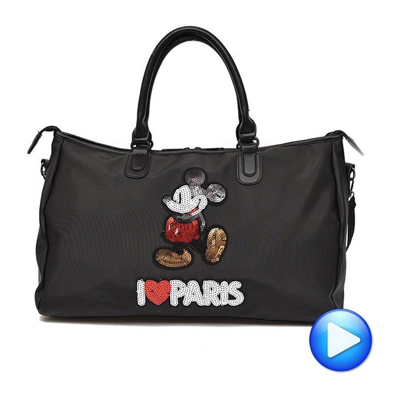 Hot Sale Designer Metal Sequins Mickey Gym Fitness Sports Bag Shoulder Crossbody Bag Women Tote Handbag Travel Duffle Bolsa