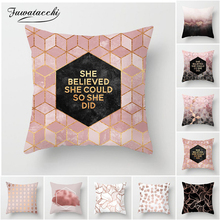 Fuwatacchi Pink Geometric Cushion Cover Nordic Style Pillow Case Black and White Home Decorative Pillows Cover for Sofa Car New цены