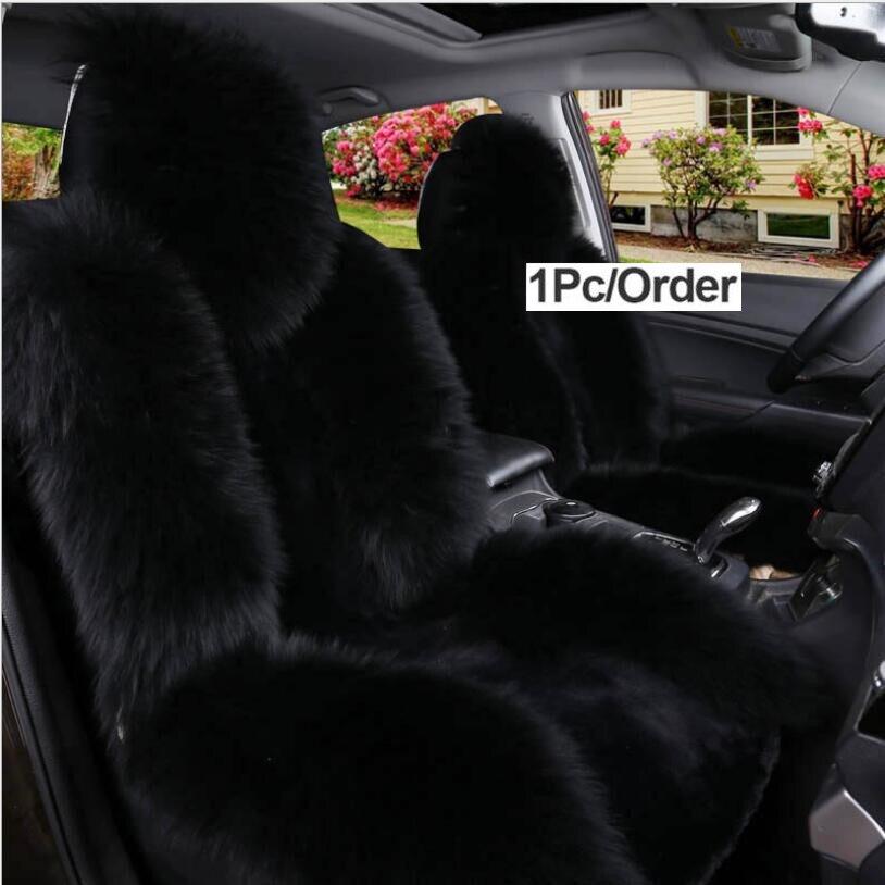 1 pièces housse de siège en fourrure de mouton australien, housse de siège de voiture universelle Super chaude, housse de siège de voiture en laine avant