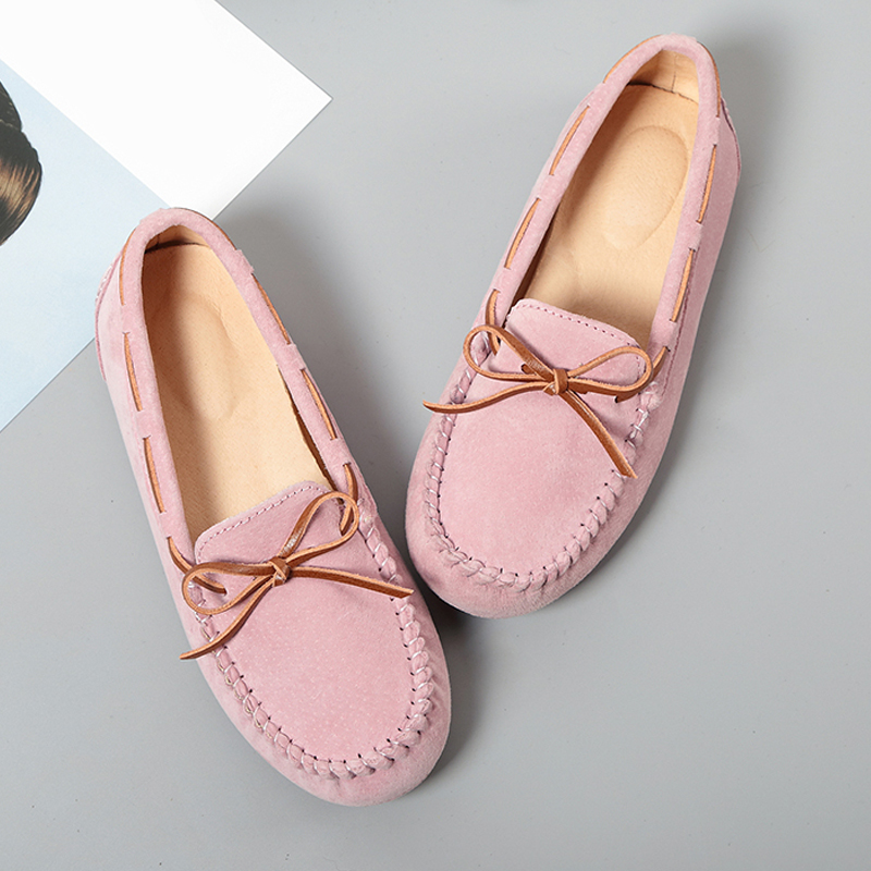 2018 Top Fashion Women's Flat Shoes Genuine Leather Woman Shoes Flats Casual Loafers Soft Slip On Moccasins Lady Driving Shoes new 2017 men s genuine leather casual shoes korean fashion style breathable male shoes men spring autumn slip on low top loafers
