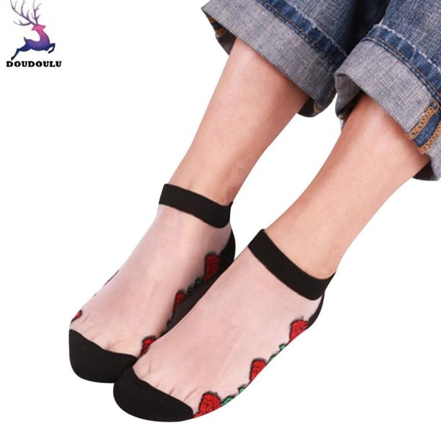 fdc628e7325 DOUDOULU floral Woman transparent socks women Crystal Thin Summer Ankle  Socks Creative Sock calcetines mujer algodon WS