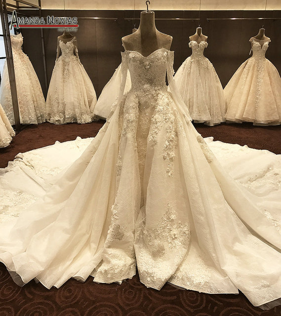Luxury Long Wedding Dresses Cathedral Train With Long Sleeves 2018 ...