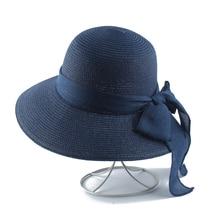 цена на 2019 Women Summer Hat Wide Brim Bowknot Straw Hat Panama Ladies Sun Cap Casual Beach Hats For Women