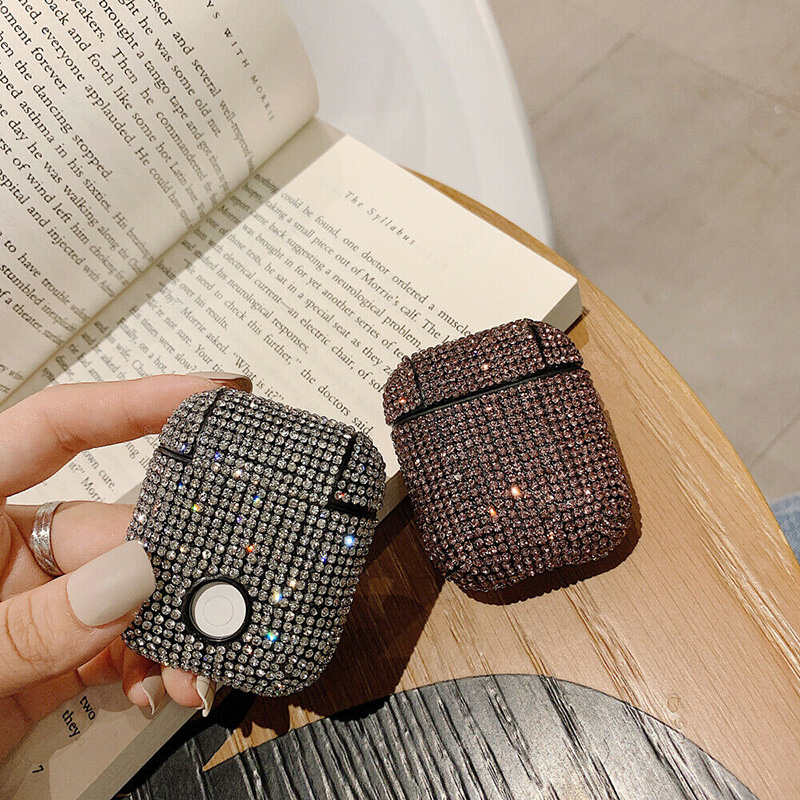 Luxury Diamond Decorative Case For Apple Airpods Earphone Bling Glitter Diamond Rhinestone Case Cover Skin For Airpods Earphone