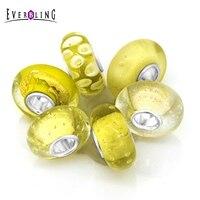 黄色6ピース1袋ムラーノガラスバンドルビーズ100% 925スターリングシルバーチャームビーズフィットパンドラ欧州チャームブレスレッ