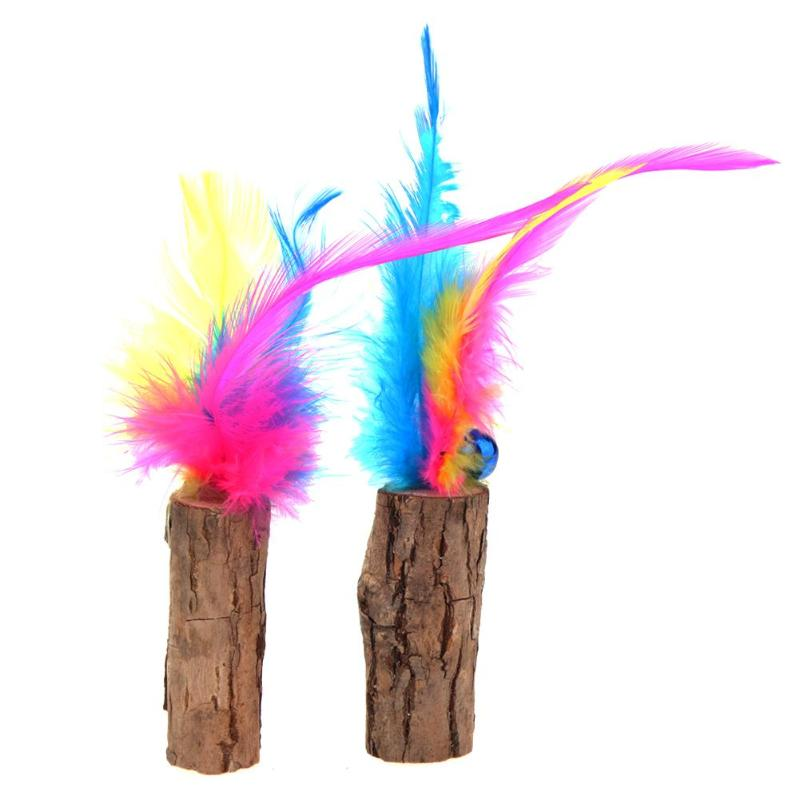 2pcs Cat Wood Stick Feathers Wands Rods Toys Pet Teaser Play Interactive Sound Funny Catnip Toys Bell Activity Kitten Cat Toys
