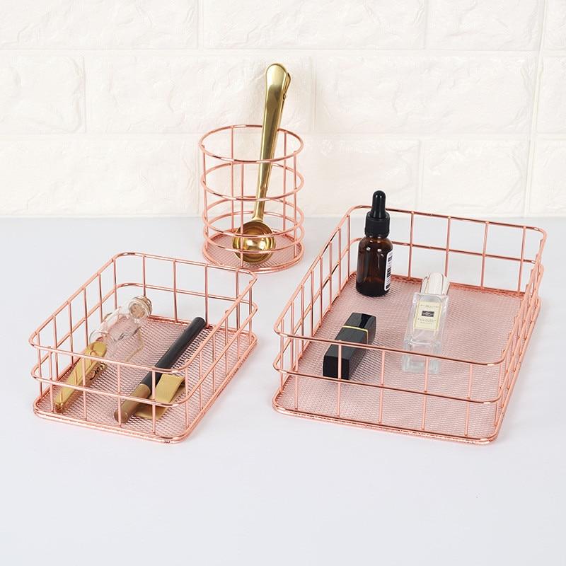 Nordic Metal Cosmetic Organizer Box Rose Gold Pen Holder 2018 New Fruit Basket Kitchen Organizers Home Storage & Organization makeup organizer box