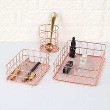 Nordic Metal Cosmetic Organizer Box Rose Gold Pen Holder 2018 New Fruit Basket Kitchen Organizers Home Storage & Organization