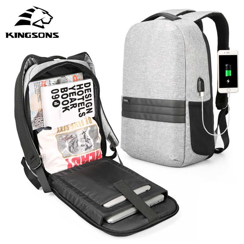 Kingsons 15 אינץ מחשב נייד תרמילי USB טעינה אנטי גניבה תרמיל גברים נסיעות תרמיל עמיד למים תיק בית ספר זכר המוצ 'ילה