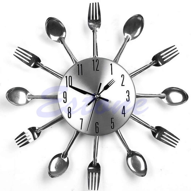 Creative Modern Design Sliver Cutlery Kitchen Utensil Wall Clock Spoon Fork  Clock Home Decor