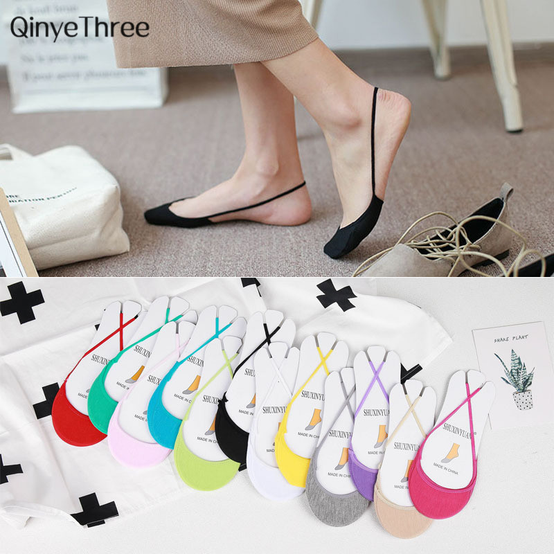 1 Pair New Women Spring Summer Sling Invisible   Socks   100% cotton Soft Thin   Sock   Half Palm Without Heel Candy color Girls Ladies