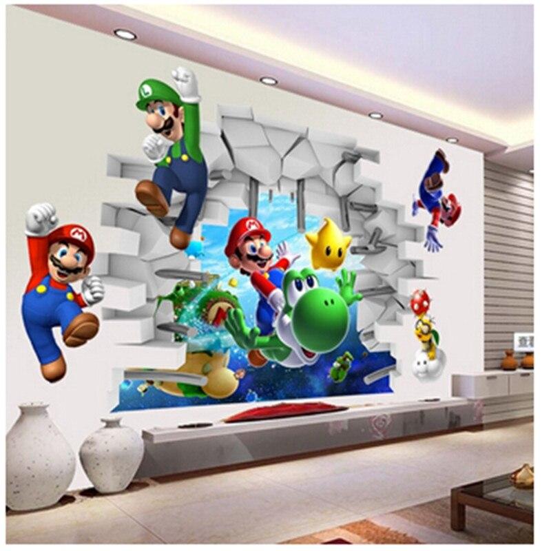 Super mario bros autocollants muraux amovibles pour enfants chambres chambre salon pépinière décor à la maison dessin animé stickers vinyle mural art